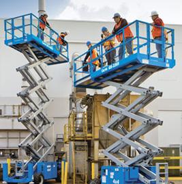 plataformas erguendo trabalhadores